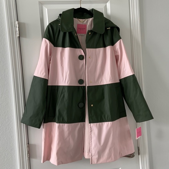 NWT KATE SPADE Colorblock Coat Black/orchid Pink